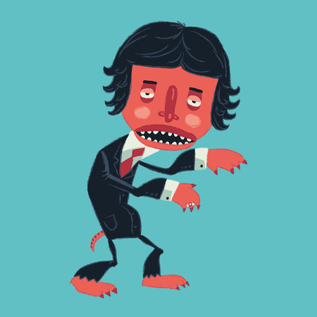 epidemy: Man in a suit zombies on Halloween party. Vector illustration Illustration