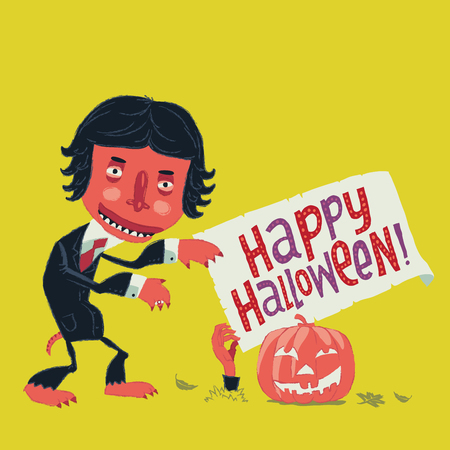 Funny zombie man in a suit goes on a Halloween party. Happy Halloween invitation postcard or poster illustration.