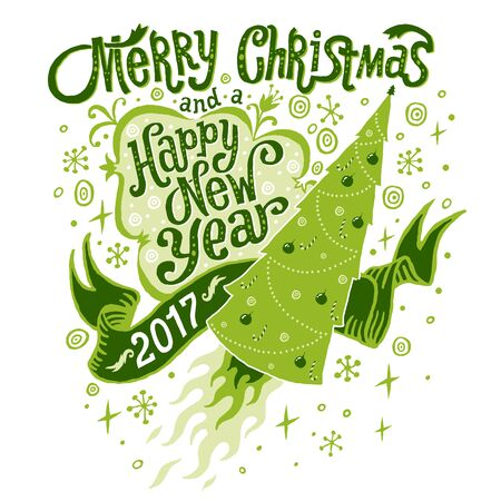 Joyeux Noël et Bonne Année 2017 Carte de voeux. Isolated illustration, affiche, invitation, carte postale ou arrière-plan. Vecteurs