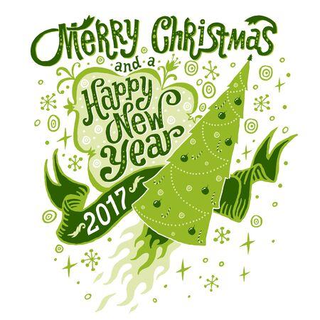Vrolijk Kerstfeest en Gelukkig Nieuwjaar 2017 wenskaart. Geïsoleerde illustratie, poster, uitnodiging, briefkaart of achtergrond. Vector Illustratie