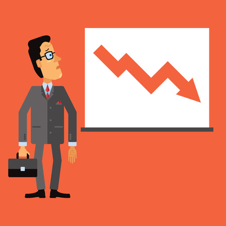 drop down: Sad business man look at a chart or graph. Down arrow, representing the drop in business.