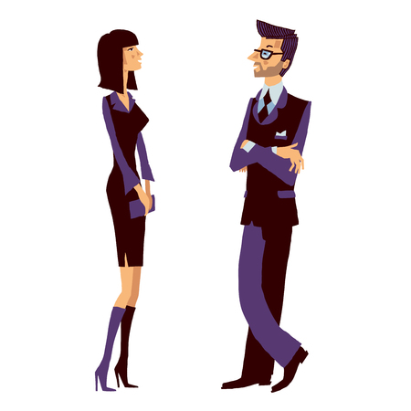Business man and young smiling woman talking at work about their successful company.