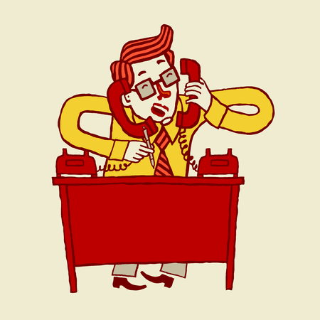 phonecall: illustration of a busy stressed out cartoon businessman talking on phone.