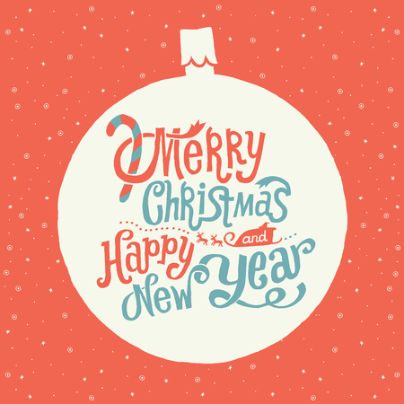 rudolf: Merry Christmas and Happy New Year Greeting card with Handlettering Typography