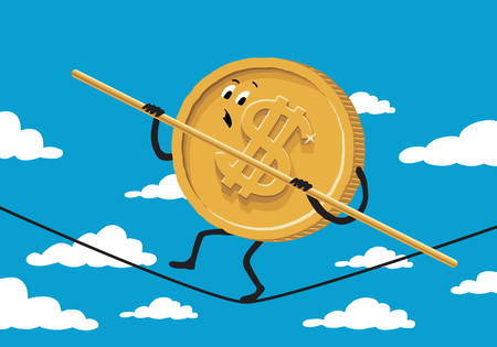 equilibrium: Dollar rope walker on background with sky and clouds. Illustration