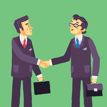 Two smiling successful businessmen making agreement and handshaking after negotiation.