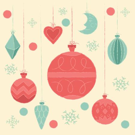 retro postcard: Christmas decorations. Vector illustration, poster, invitation, postcard or background in retro style. Illustration