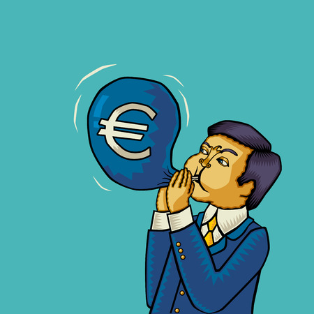 euromoney: Inflation in the euro area (euro Inflation, euro crash, euro crisis). Vector illustration. Illustration