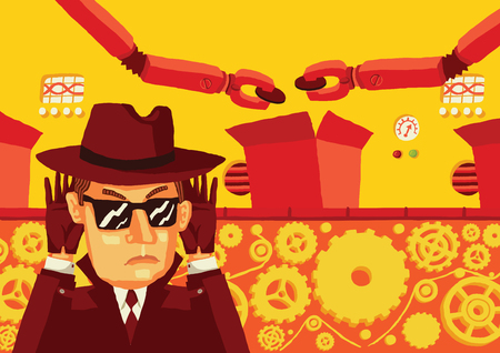 Spy in the factory. A man in sunglasses and a hat secretly monitors the production and steal sensitive data.
