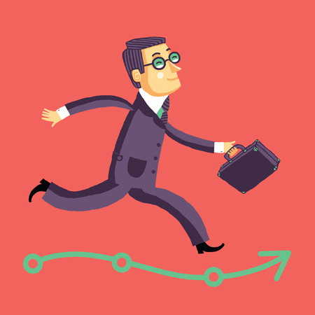 career success: Running businessman on the road to success or career. Vector illustration on red background. Illustration