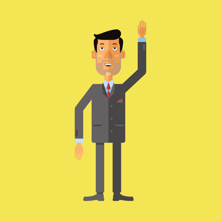 raise hand: Smiling businessman greeting someone with his hand raised up. Vector illustration.