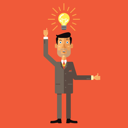 Happy businessman with thumbs up get the idea. Vector illustration in flat design style. Illustration