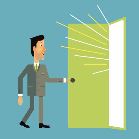 El hombre de negocios entra por la puerta abierta de la que vierte luz. Ilustración del vector en estilo de diseño plano.