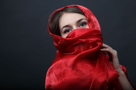 Girl with red shawl photo