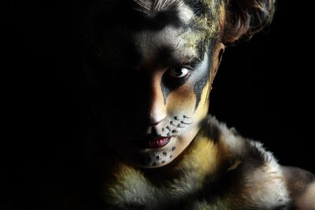 body paint: Body art: Tigress en la oscuridad