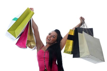 Shopping of young brunette girl photo