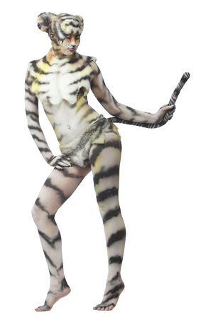 tigress: Body-art: White tigress Stock Photo