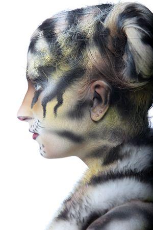 tigress: Body-art: White tigress. Studio shot. Stock Photo