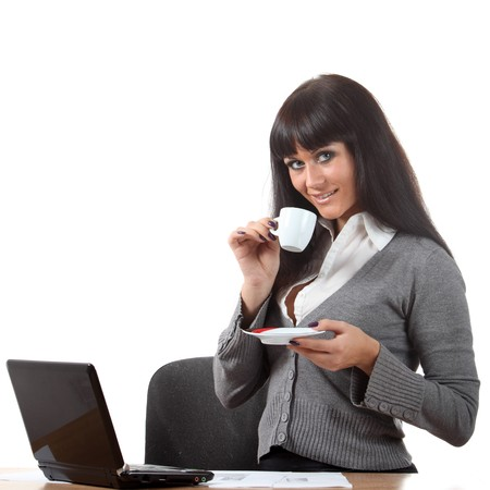 Coffee break of young and beautiful businesswoman Stock Photo - 8040299
