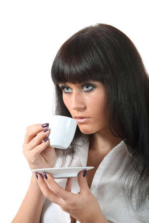 Young attractive blue eyes woomen drink coffee Stock Photo - 8040304