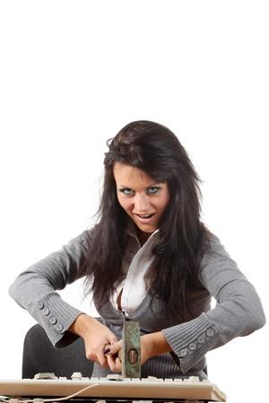 jobsite: Anger girl crushes keyboard by hammer