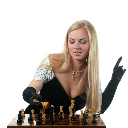 pawn adult: Young glamour blond woman play chess
