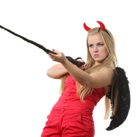Young sexi blond woman in a costume of red devil Stock Photo - 8190349