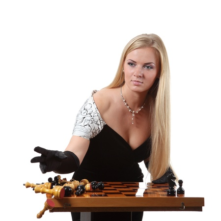 pawn adult: Young glamour blond ending of the chess game set