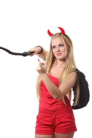 Young sexi blond woman in a costume of red devil photo