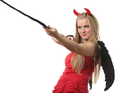 Young sexi blond woman in a costume of red devil Stock Photo - 8300510
