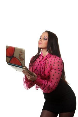 Pretty woman with a notebook Stock Photo - 8589394
