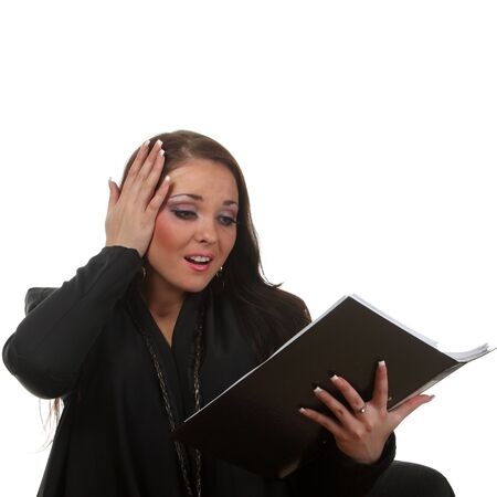 Surprised businesswoman with a file Stock Photo - 8632488