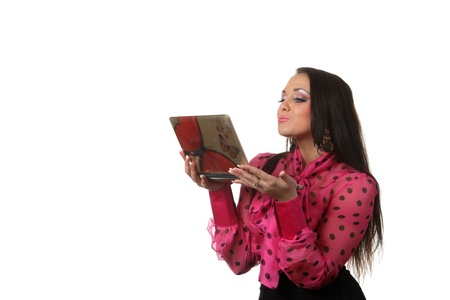 Attractive young woman with a notebook photo