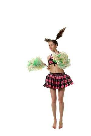 tailes: Attractive young slim girl cheerleader Stock Photo