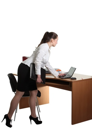 Businesswoman work on her workspace