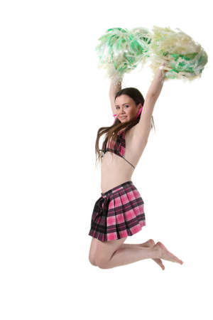 tailes: Attractive young slim girl cheerleader jump