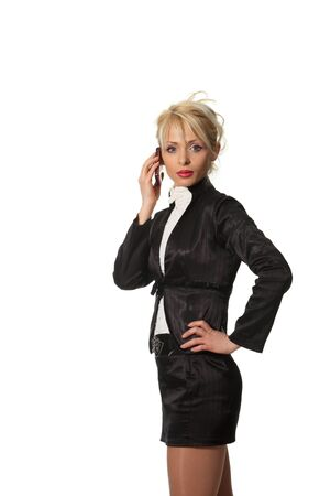 Young businesswoman speak cell phone photo