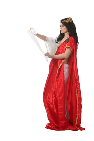 Woman in an ancient greece costume read a scroll Stock Photo - 9305088