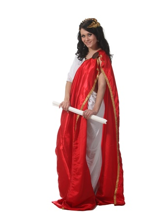 Woman in an ancient greece costume hold a scroll photo