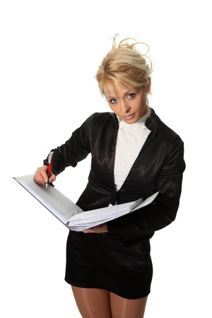 Young businesswoman hold a file photo