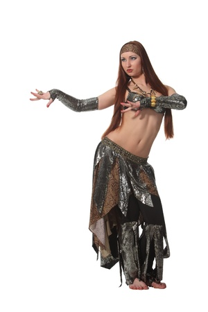 bellydance: Woman in a snake costume dance in a tribal style