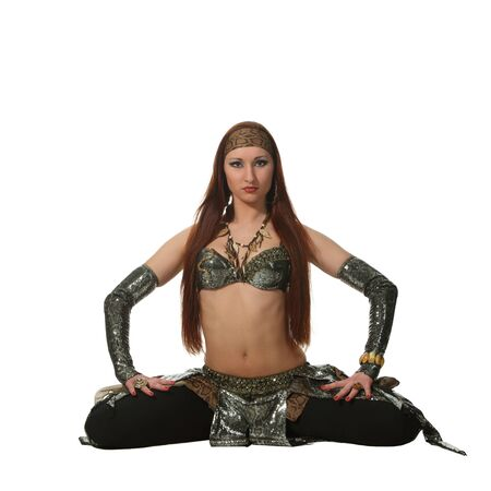 Woman in a snake costume dance in a tribal style Stock Photo - 9584580