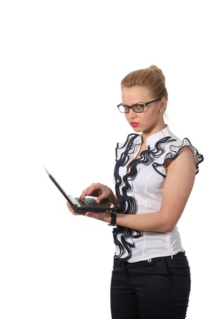 Young businesswoman hold a notebook photo