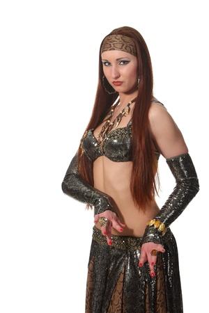 Femme dans un costume de serpent de danse dans un style tribal Banque d'images