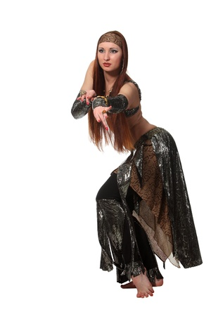 Woman in a snake costume dance in a tribal style Stock Photo - 9635631