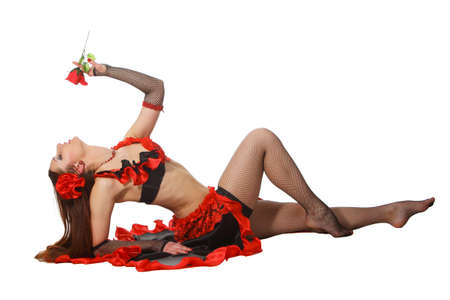 Young attarctive girl dance tribal with a red rose Stock Photo - 9736978