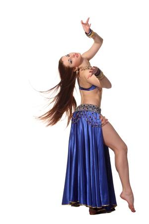 MÅ'ody PiÄ™kna tancerka w niebieskim kostium Zdjęcie Seryjne