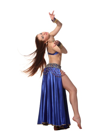 bellydancing: Young beautiful belly dancer in a blue costume Stock Photo