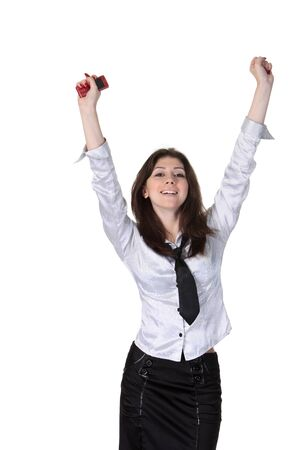 sucess: Young attractive happy businesswoman