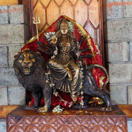 Durga statue in Manali temple